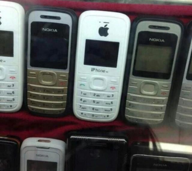 celular nokia con logotipo apple