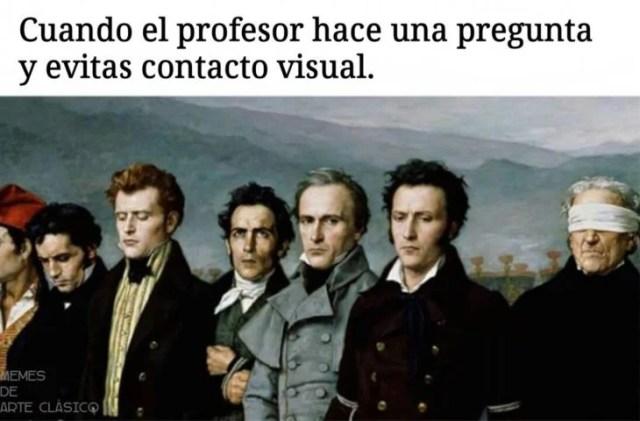 meme evadir la mirada del profesor