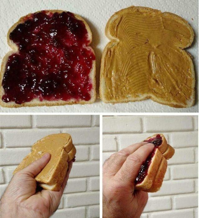 sandwich mermelada y mantequilla de maní