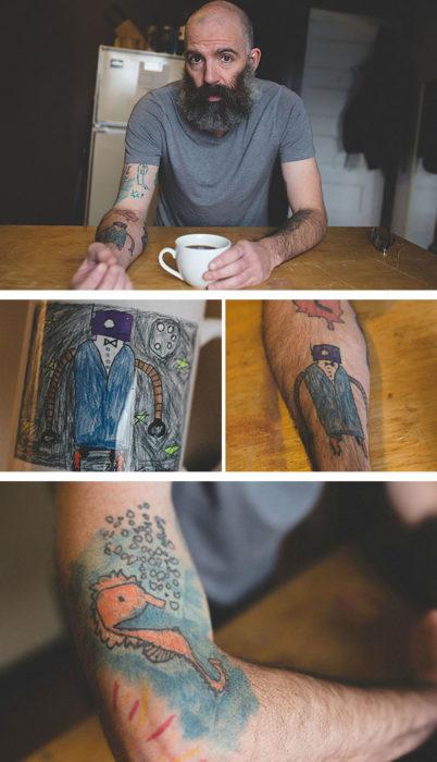 papá tatuajes dibujos hijo