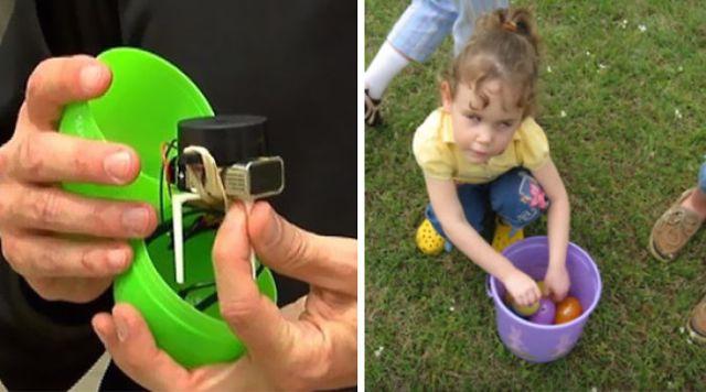 niña ciega localizando huevos de pascua