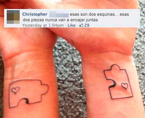 Fails tatuajes - piezas rompecabezas no encajan