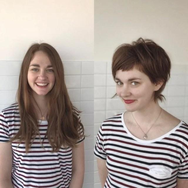 blusa rayada cambio de look chavala pelo cortometraje antes y después