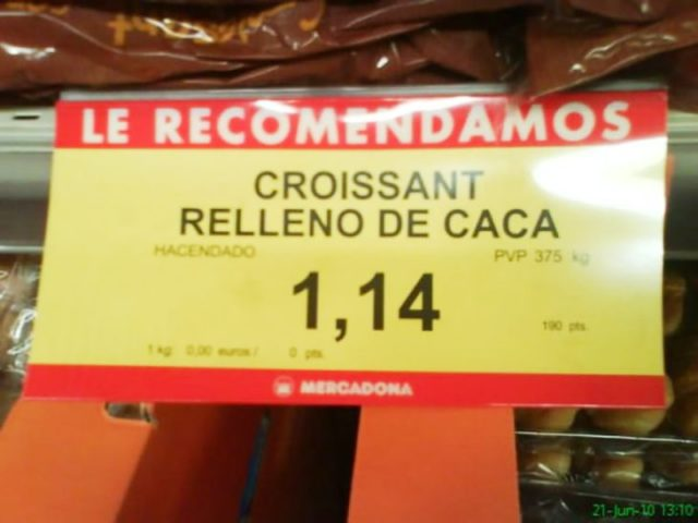 cartel de croissant relleno de caca