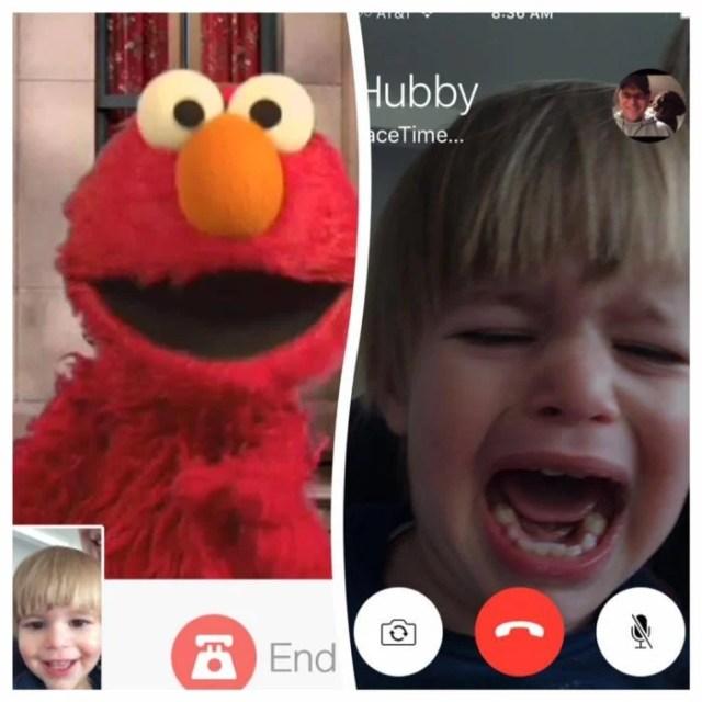 bebe en videollamada con su papá llorando