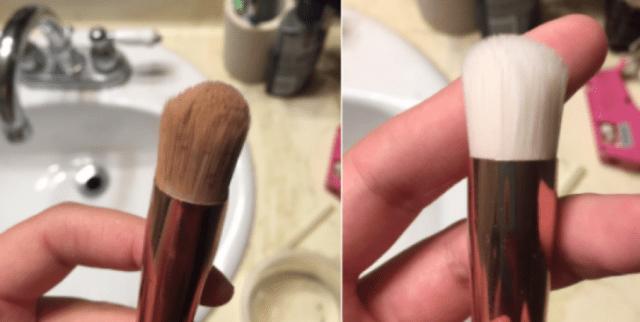 Brocha de maquillaje sucia y limpia