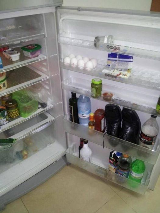 zapatos en refrigerador