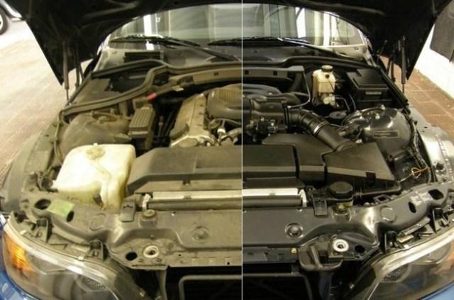 Motor antes y despues limpio