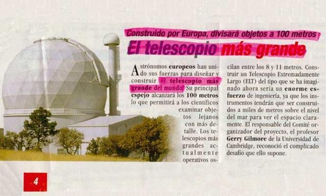 Nota en periódico - telescopio alcanza a ver cien metros, es el más grande del planeta