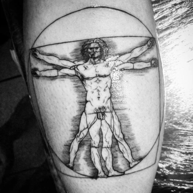 Hombre vitruvio tatuaje Leonardo otorga Vinci, 1490