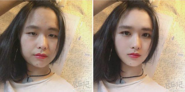 chica asiática de pelo negroantes y después del photoshop