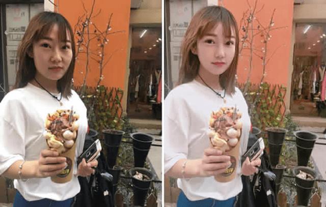 chica asiática con cono antes y después del photoshop