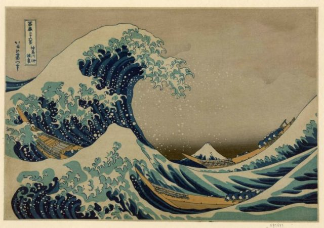 Hokusai postal de la gran ola