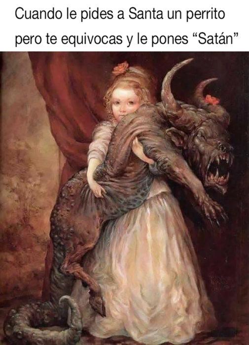 meme de niña con un demonio