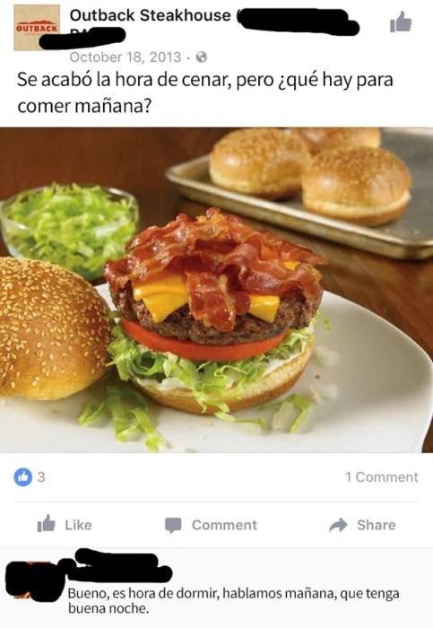mensaje del face hamburguesa contestación abuela