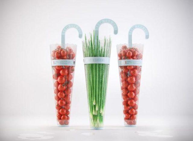 empaque en constituye de paraguas para los vegetales de época de lluvias
