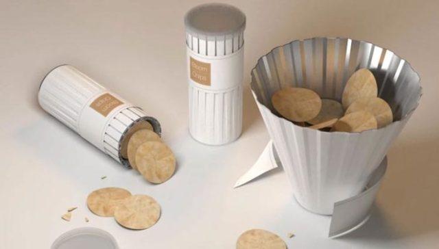 tubo de papas que se transforma en tazón