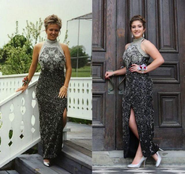 El mismo vestido que su mamá utilizó en su graduación gris