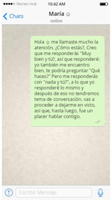 Hombre autorechazado mediante un sólo mensaje de texto
