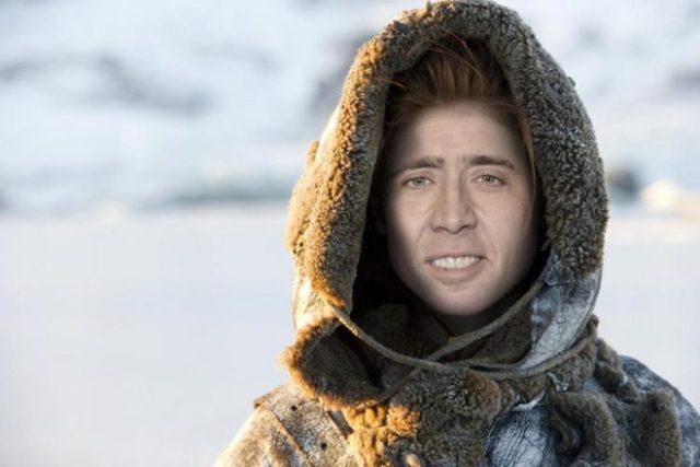 Mujer personaje de game os thrones con hacia de Nicolas Cage