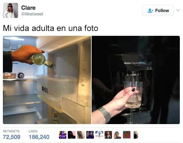 echa vino en el dispensador del refrigerador