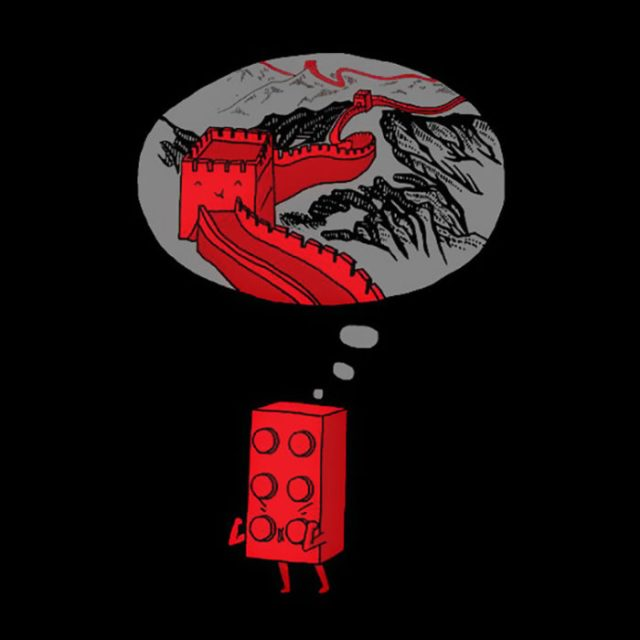 pieza de lego desea ser parte de la gran muralla china