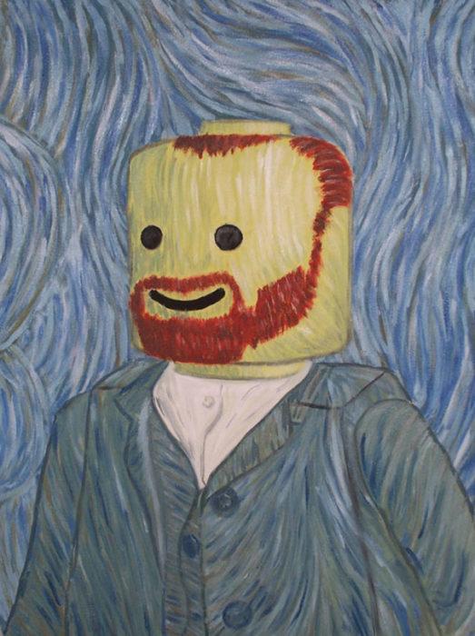 autoretrato de Van Gogh hecho en lego