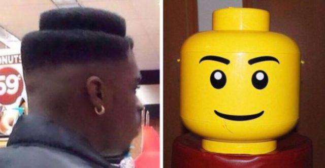 Corte de pelo similar a la cabeza de lego