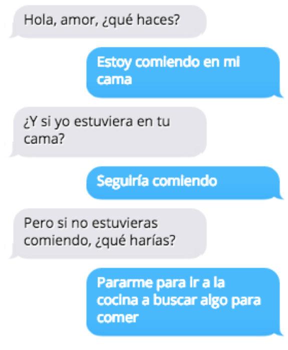 Mensajes mujeres listas - comiendo en mi cama