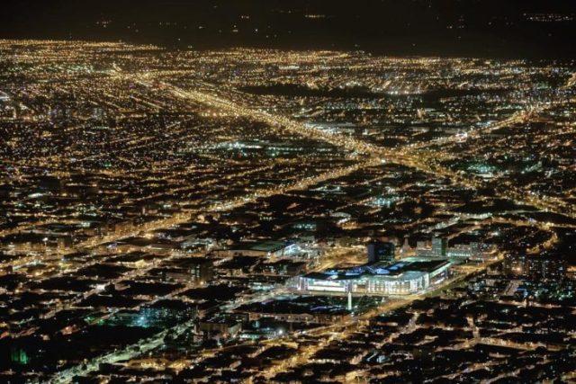 Vista nocturna de la urbe de Bogotá