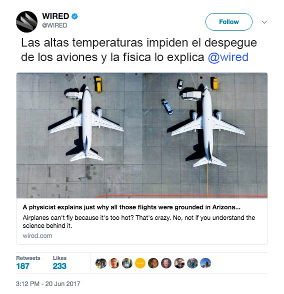 física aeroplanos arizona no pueden despegar calor