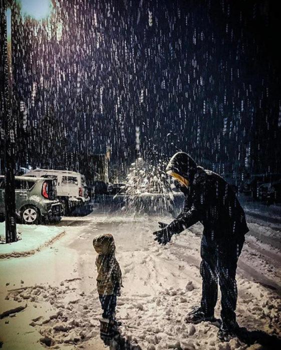 nieve padre e hijo