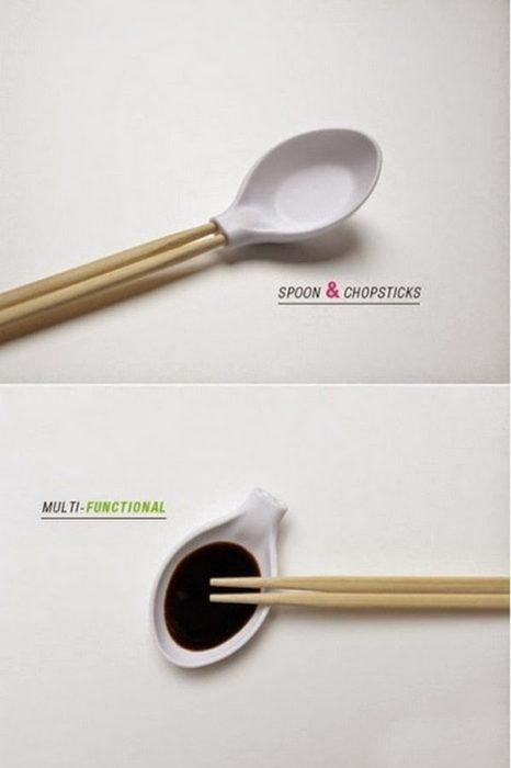Cuchara que puede ser utilizado cual palillos chinos y salsero
