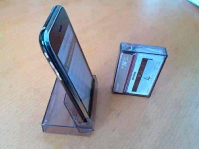 Caja de cassette para mantener el celular