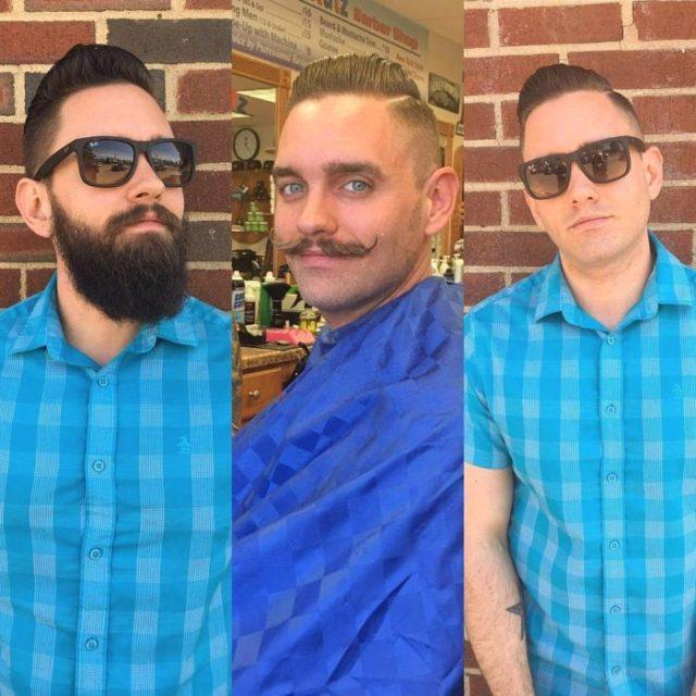 Sujeto muestra su antes y su después con ó sin barba