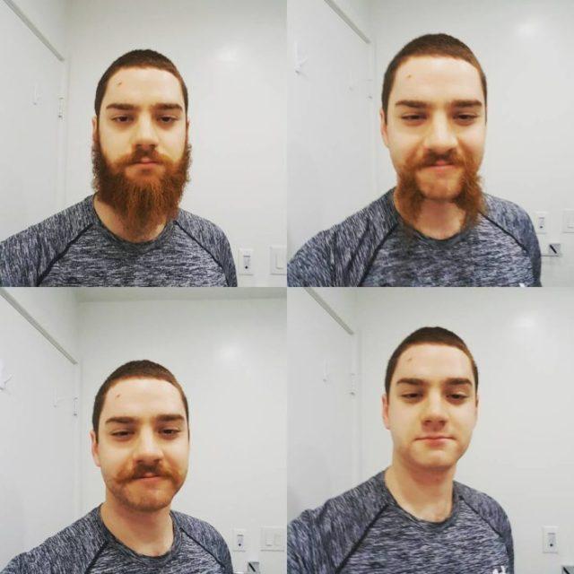 Proceso de afeitado de un hombre que tenía la barba larga