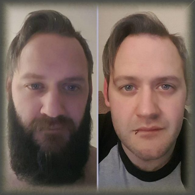 comparativa con ó sin barba