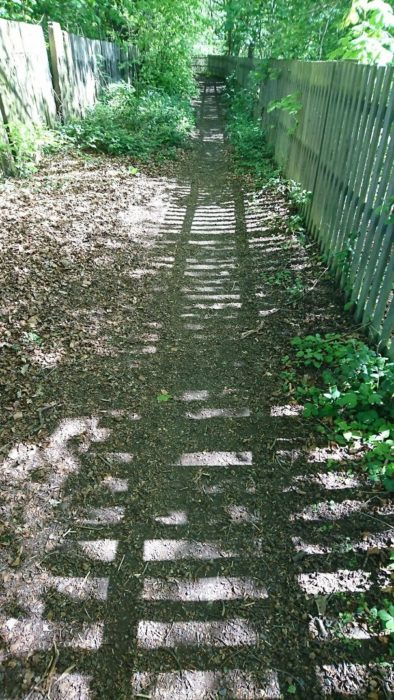 reja que proyecta sombra con constituye de vía