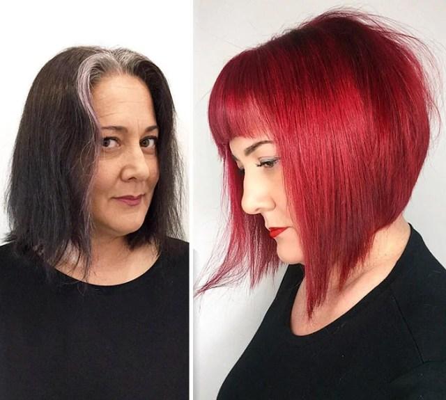 Mujer con pelo obscuro se lo tiño rojo