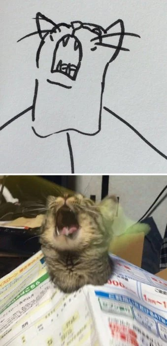 Dibujos realistas gatito - aullando