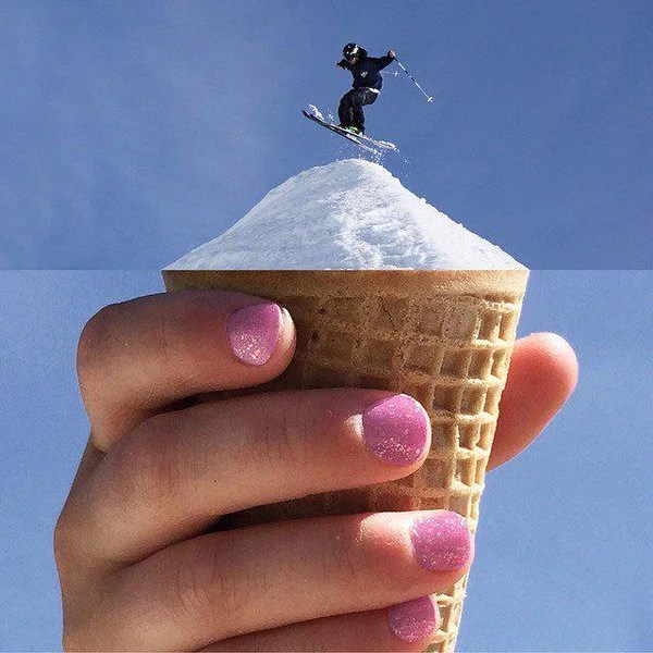 Fotomontajes - esquiando en cono de nieve