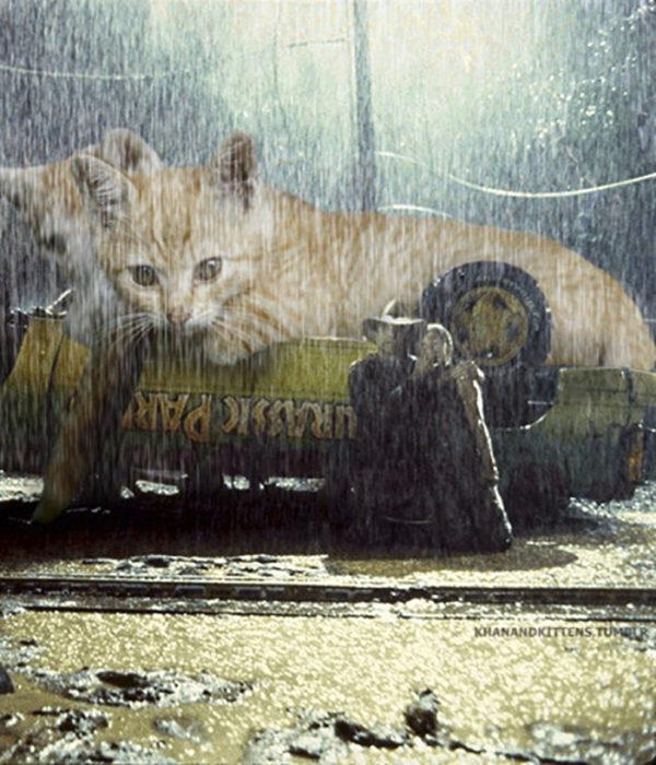 gato gigante volcando camioneta jurassic park
