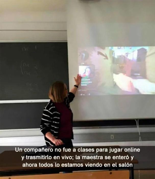 Maestra ve en clases trasmisión en vivo de su alumno