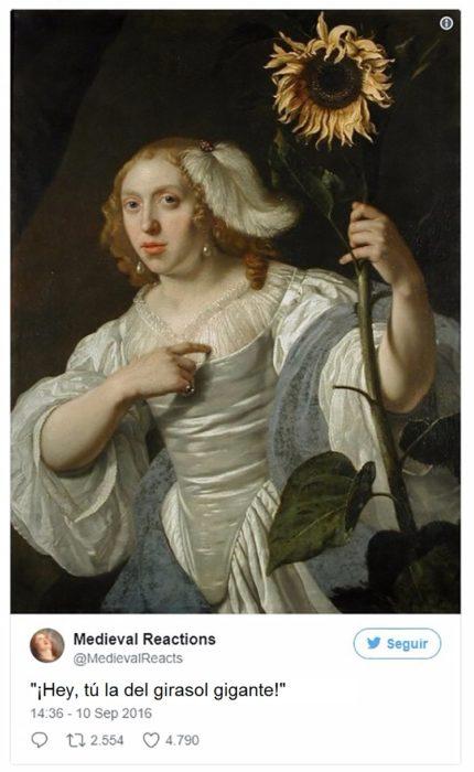 mujer con un gran girasol