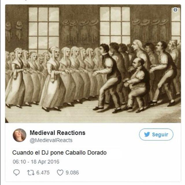 Pintura de personas bailando el mismo ritmo