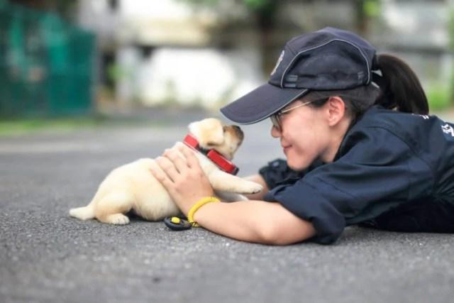policía con perrito