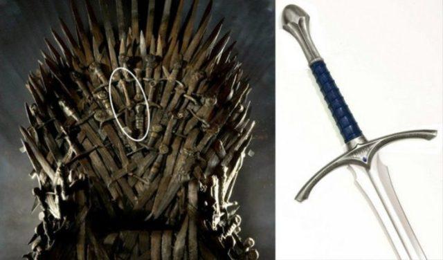 la espada de Gandalf en el trono de hierro
