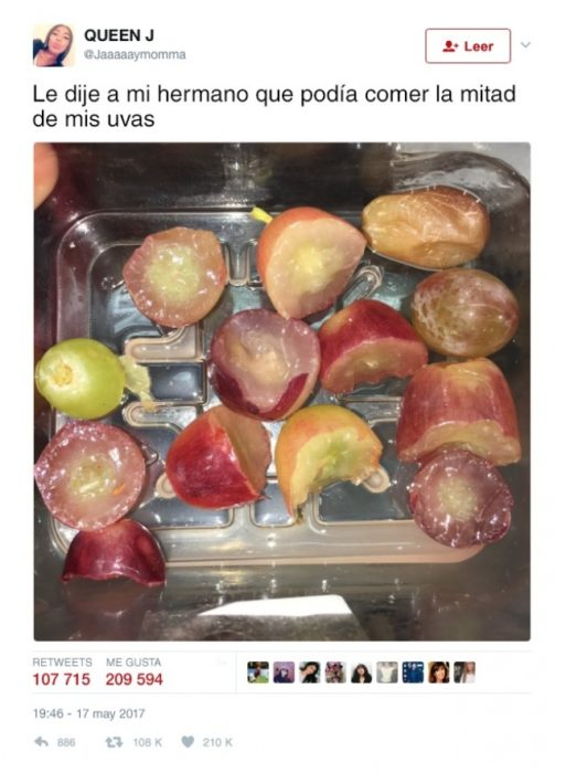uvas niño mitad
