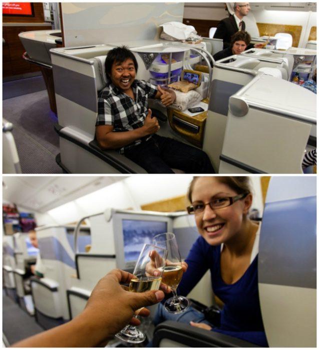 brindis en la aerolínea