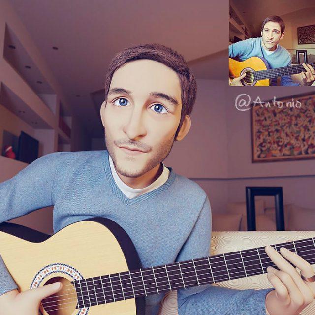 hombre tocando la guitarra transformado en personaje de Pixar